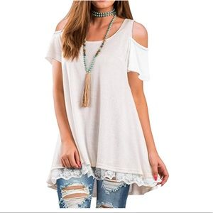 Beautiful women cold shoulder short sleeve top